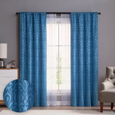 Add style and privacy to your windows with the 84-in. Villa 4-panel window curtain set from VCNY. The two printed panels feature an on-trend floral damask pattern while the two sheer panels offer privacy without sacrificing natural light. Its blue color palette coordinates well with existing decor. The 4-panel set offers a trendy layered look for your bedroom, dining room or living room. Window Curtain Rods, Curtain Sets, Window Panels, Window Curtains, Curtain Panels, Curtains Kohls, Sheer Curtains, Throw Pillow Sets, Home Decor Outlet