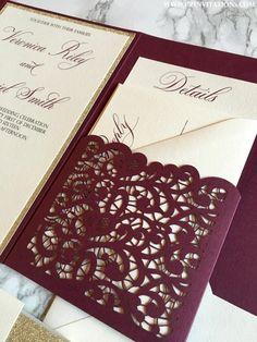 Laser Cut Pocket Wedding Invitation, Burgundy and Gold Glitter Wedding Invitation, Marsala Invitation, Wine Invitation, laser invitation