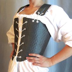 Reversible Tudor Bodice in Iridescent Teal and by ThreadsofLegend