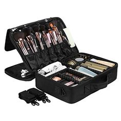 SONGMICS Portable Makeup Train Case 3 Layer Cosmetic Travel Case with Dividers Black UMUC15B -- Read more reviews of the product by visiting the link on the image-affiliate link. #WarehouseDeals Personal Care