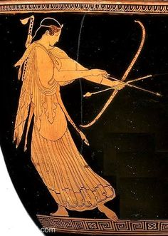Artemis, goddess of hunting, with bow | Greek vase, Athenian red figure bell krater