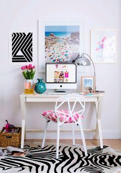 Home Office Ideas | Home Office Decor | Modern White Office Desk | Zebra Rug