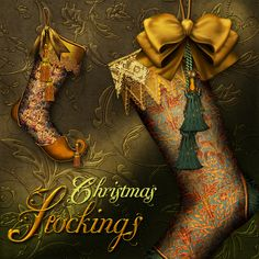 Unique stockings in a metallic color scheme. Embroidered Christmas Stockings, Vintage Christmas Stockings, Xmas Stockings, Victorian Christmas, Christmas Coal, Christmas Shoes, Christmas Holidays, Christmas Decorations, Christmas Ornaments