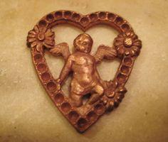 Vintage French Die Struck Brass Heart and Cherub by StarPower99, $7.60