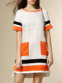 White Casual Linen Color Block Mini Dress – Everything you are looking - Fashion Ideas Simple Dresses, Cute Dresses, Casual Dresses, Fashion Dresses, Short Sleeve Dresses, White Casual, Linen Dresses, Pulls, Ideias Fashion