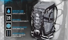 Fit more into your MMA training sessions with a versatile new Venum backpack called the Challenger Xtreme which has more storage for your gear at the gym. Gym Backpack, North Face Backpack, Mma Gym, 3d Mesh, Mma Training, Compression Shorts, Mixed Martial Arts, Headgear, Backpacks