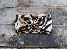 Turban Headband Women's knit Jersey Leopard by aperfectmessvintage
