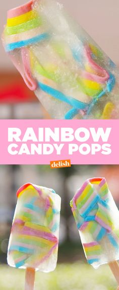Booze up and cool down with these Rainbow Candy Pops. Get the recipe from Delish.com.
