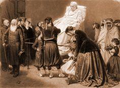 Artur Grottger: Przed posągiem Napoleona   1867. Kredka czarna i biała, papier na płótnie. 53 x 63,5 cm.   Muzeum Narodowe, Warszawa