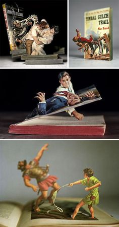 """Vintage Book Art by Thomas Allen    """"Thomas Allen uses careful book selection and a knife to create stunning photography setups that break out from the page."""""""