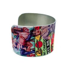 BDSM Jewelry - Erotic Pop Art - Fetish Image - Erotic Art Jewelry - Aluminum Cuff Bracelet - Collage Art Jewelry - Sku R7-002  with <3 from JDzigner www.jdzigner.com
