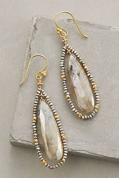 Stone Petals Drops by Robindira - Sterling silver, gold vermeil, rutilated quartz, pyrite I Love Jewelry, Wire Jewelry, Jewelry Crafts, Beaded Jewelry, Jewelery, Handmade Jewelry, Jewelry Design, Jewelry Making, Gold Jewelry