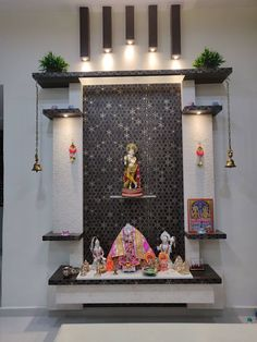 Mandir modern dining room by design kreations modern wood wo.- Mandir modern dining room by design kreations modern wood wood effect Pooja Room Design, Home Room Design, Room Interior Design, Temple Design For Home, Room Door Design, Cupboard Design, Room Partition Designs, Pooja Room Door Design, Temple Room