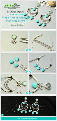 Pandahall Tutorial on How to Make Simple Heart Turquoise and Pearl Hoop Earrings
