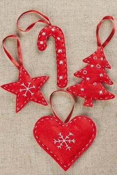Simple embroidery on felt Christmas ornaments                                                                                                                                                     More