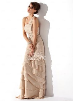 A-Line/Princess One-Shoulder Sweep Train Chiffon Mother of the Bride Dress With Ruffle Beading (008006056) - DressDepot