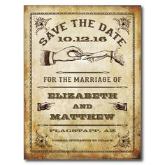 Vintage Save the Date Postkarte