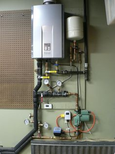 Photo of hydronic heating system components