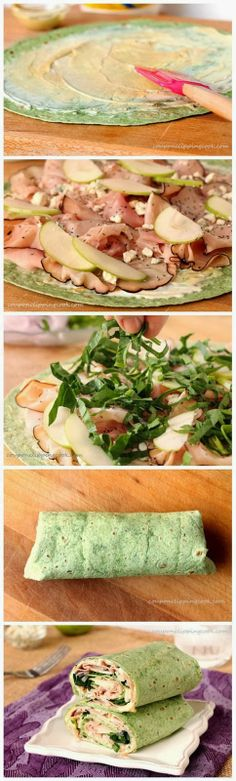 Ham, Apple and Blue Cheese Wraps