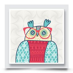 RED CHESTED OWL wall art which comes printed on canvas or box framed & can be personalised can live on its own, or compliment the other owl artwork in this collection. Being colourful and quirky, this hipster owl artwork is perfect for decorating the walls of a nursery, kids room or playroom. Order your art print from http://www.madicleo.com/collections/wall-art-for-unisex-rooms