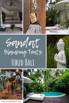 Hoteltipp für Ubud Bali Sandat Glamping Tents Boutique Hotel. Glamping Zelte mit privaten Pools, inmitten tropischer Gärten. 5 Sterne Luxus unter 5 Milliarden Sternen. Ubud ist das Natur- und Kulturjuwel Balis. Ruhe und Abgeschiedenheit vom Trubel findet man, umgeben von Reisfeldern und dichtem Grün, in den Sandat Glamping Tents. www.gindeslebens.com #bali #ubud #sandat #glamping #glampingbali Tromso, Glamping, Tent, Hotels, Table Decorations, Boutique, Home Decor, Bali Indonesia