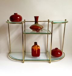 Curio Shelf: Gold tone Metal and Glass by 1006Osage on Etsy