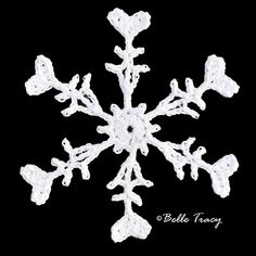 """Snowflake # 45 This is modified pattern of Sochi Snowflake, Designed By: Snowcatcher . Belle Tracy changed the """"bubble"""" into a heart. Free Crochet Snowflake Patterns, Crochet Thread Patterns, Dishcloth Knitting Patterns, Christmas Crochet Patterns, Crochet Snowflakes, Christmas Snowflakes, Crochet Motif, Knit Dishcloth, Christmas Bells"""