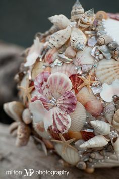 Another picture of my home-made sea-shell bouquet, made from a mixture of sea-shells that my family collected over the years of living on Vancouver Island, and some I received from other people. Picture courtesy of, and approved by, Milton Photography.