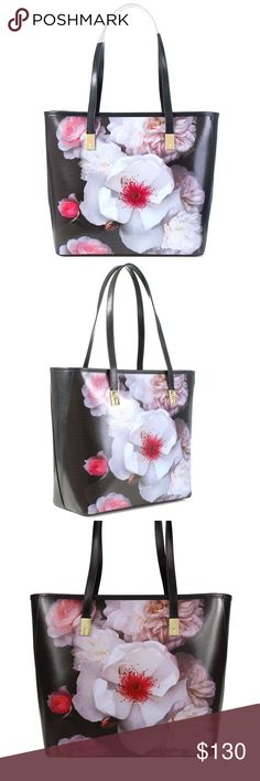 LAYLAAH CHELSEA SMALL SHOPPER BAG PRODUCT INFORMATION -	Black Laylaah Chelsea Small Shopper Bag -	Chelsea grey print -	Two top handles -	Ted baker branded -	100% polyvinyl chloride -	Dimensions: H:25cm x W:25cm x D:12cm -	Care as according to brand Ted Baker Bags Totes