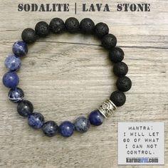 Yoga Bracelets Black Lava Blue Sodalite. Energy Healing | Men's Womens | beaded yoga karma mala charm. Law of Attraction. manifest. #LOA.