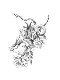 Dragon Tattoo Drawing, Small Dragon Tattoos, Dragon Tattoo For Women, Dragon Sleeve Tattoos, Dragon Tattoo Designs, Small Tattoos, Tattoos For Women, Dragon Tattoo With Flowers, Dragon Hand Tattoo