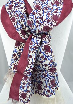Silk Scarf - Multicolor scarf - Maroon scarf - Floral print - Hand painted silk scarf - Gift for Her - Gift for mom - Gift for women by Ornify on Etsy Floral Scarf, Floral Motif, Floral Prints, Painted Silk, Hand Painted, Maroon Scarf, Hand Printed Fabric, Gifts For Mom, Outfit Of The Day