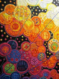 Fumiko Nakayama, molas lover, and her large works created with great detail and colors: Quilting Projects, Quilting Designs, Applique Designs, Quilt Inspiration, Textile Fiber Art, Fiber Art Quilts, Quilt Modernen, Colorful Quilts, Contemporary Quilts