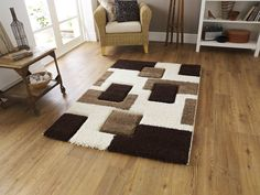 Fashion 7646 Rug Ivory/Brown   Cheap Rugs and Mats   UK Delivery