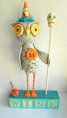Wise Grey Halloween Owl clay folk art sculpture by indigotwin, $50.00