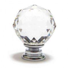Polished Gold Base - Crystal Clear Cut Glass Cupboard Knob 40mm ...