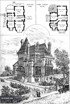 "Church Road, Upper Norwood, London, England, 1875 Masonry Queen Anne Victorian plans by architect Sextus Dyball, built by Mr. Charles Wright for Mr. James Franks. The home was constructed of dark ""Stock Bricks"" with details in red and blue brick, a tile roof and stained and varnished wood interiors"