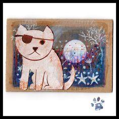 Rusty Cat postcard on cardboard 2015 #racheljenkinson #cat #rusty #moon