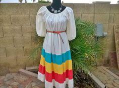 70s Festival Dress  sze S / M Boho Hippie  by EleanorFayesFashion