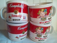Vintage Campbell's 1989 Soup Cups Mugs by ThePigsMeow on Etsy, $19.00