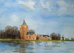 Hoog water bij Varik in 1995 aquarel by Alex Olzheim