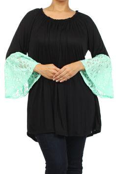 Black Mint Lace Bell Sleeve Top - #blondellamydean #plussizefashion #plussize #curves