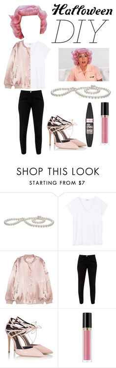 """Halloween DIY: Frenchy from Grease"" by emily-istvan ❤ liked on Polyvore featuring Ted Baker, Fratelli Karida, Revlon, Maybelline, halloweencostume and DIYHalloween"