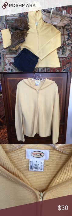 TALBOTS front zip sweater 🌼 Talbots butter-yellow colored front zip hooded, ribbed sweater, in like new condition. Size XL, and beautifully constructed. Lightweight, and great for spring. 🌼 Talbots Sweaters Cardigans