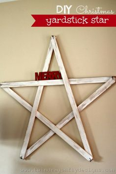 DIY yardstick stars - accent them for the holidays or for year round style!