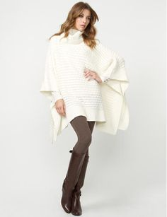 Cute look: white poncho & brown leggings + boots