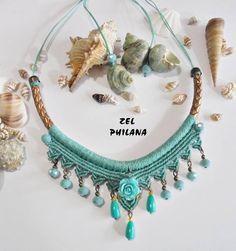 The thick cord base ☝️ Collar Macrame, Macrame Colar, Macrame Earrings, Macrame Bag, Macrame Jewelry, Macrame Bracelets, Boho Jewelry, Jewellery, Colar Boho