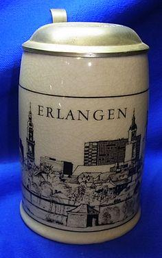 Vintage German Tin Top Lidded Beer Stein Erlangen Sparkasse #XX