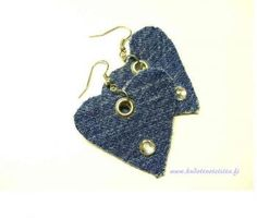 Jeans Heart- earrings with strass. Made from recycled jeans. Denim Earrings, Heart Earrings, Drop Earrings, Lily, Trending Outfits, Unique Jewelry, Handmade Gifts, Vintage, Jeans