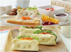 Special breakfast for kids, cute teddy bear toast
